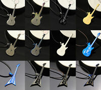 Creative Fashion Jewelry Titanium Steel Guitar Charm Pendant Chain Necklace