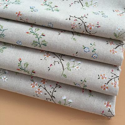 50x150cm Cotton Linen Fabric Zakka DIY Home Deco Print GARDENIA Flower F0409a B#