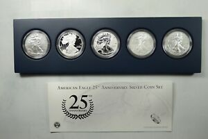 2011 US MINT 25TH ANNIVERSARY 5 COIN SET AMERICAN SILVER EAGLE BOX ONLY