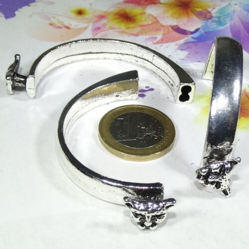 2 Cierres Pulsera Para Cuero 60mm M767 Plata Tibetan Bracelet Armband Bracciale