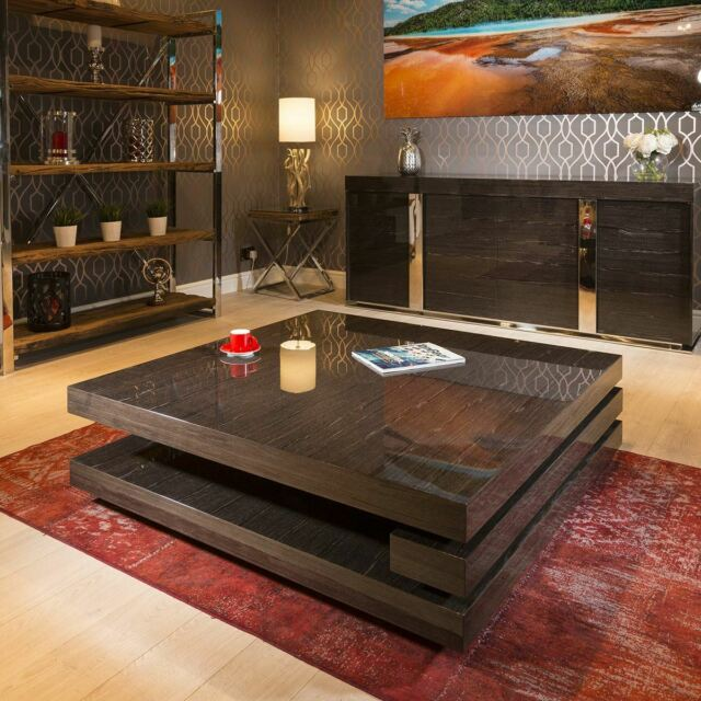 Extra Large Modern Designer Square Low Walnut 1 2mt Coffee Table 397e For Sale Ebay
