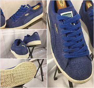 more photos f44f8 3605b Details about Puma Clyde Suede Shoes Size 9.5 Men Blue Suede Lace EUC YGI  TR24