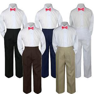 3pc Boy Suit Set White Bow Tie Baby Infant Toddler Kid Formal Shirt Pants sz S-7