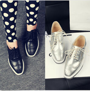 British-Style-Womens-Oxfords-Brogues-Wingtip-Lace-Up-Flats-Faux-Leather-Shoes-SZ