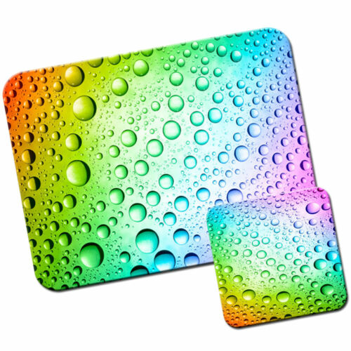 Rainbow Multi Coloured Water Droplets Mouse Mat Pad /& Coaster