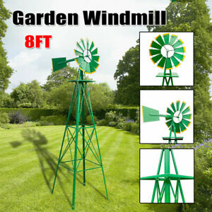 Details About 8ft Outdoor Metal Windmill Yard Garden Decoration Wind Mill  Green US A+++
