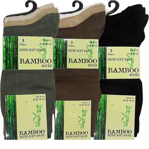 super morbido anti batterico Calzini 6 Paia Di Da Uomo Bamboo Loose Top Calze 6-11