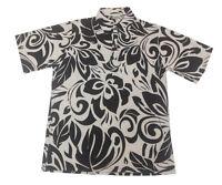 Hawaiian Iolani Pono Black Polyester Knit Pull Over Men Aloha Shirt-m,l,xl