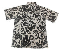 Hawaiian Iolani Pono Black Polyester Knit Pull Over Men Aloha Shirt-m,l,xl