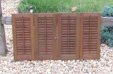 "Vintage Interior Wood Shutters Louvers Total Width 35"" x 19 1/8"" Tall"
