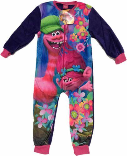 Official Trolls Girls All In One Fleece Kids Children/'s Character 5 6 8 10