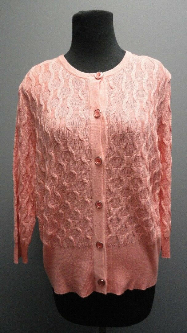 ST. JOHN Nectar 3   4 Sleeves Button Front Solid Casual Cardigan NWT Sz L FF7088