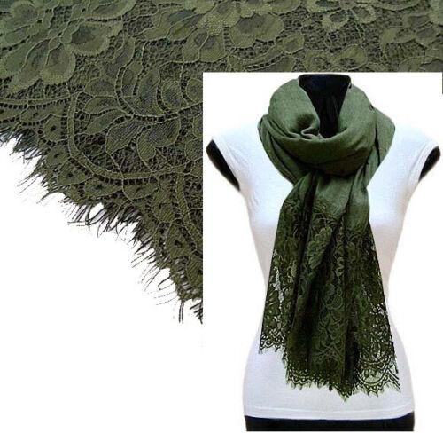 Large Khaki Green Scarf Lace Shawl Floral Wrap Cotton Big Scarf Plain Pashmina