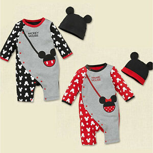 e3edffc60 Details about Toddler Baby Romper Jumpsuit Bodysuit + Hat Kids Boys Girls  Mickey Clothes Sets
