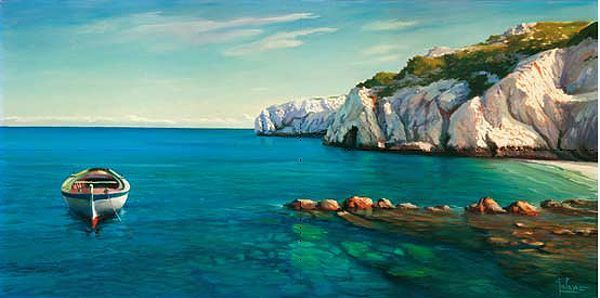 Adriano Galasso  Caletta mediterranea Keilrahmen-Bild Leinwand Meer Stiefel Küste