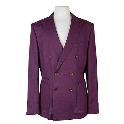 "Hugo Boss ""Nickson/Knox"" 100% Linen Burgundy Double Breasted Suit US 40R EU 50R"