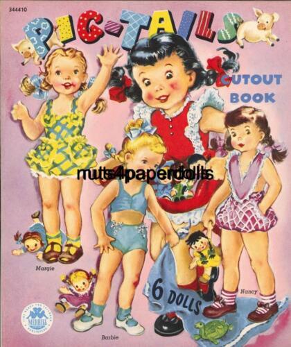 VNTGE 1949 PIGTAILS PAPER DOLL HD LASER REPRO~LO PRICE~BEST HI QUAL~TOP SEL