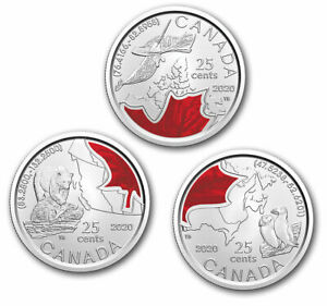 2020-Canada-Connecting-Canada-3-x-25-cent-coloured-quarter-set-IN-STOCK