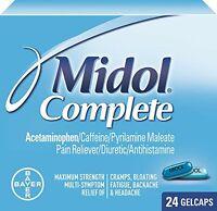 4 Pack - Midol Menstrual Complete Gelcaps 24 Gelcaps Each on sale
