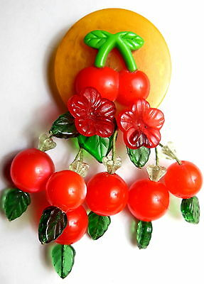ARTIST CHERRY PIN BROOCH Butterscotch BAKELITE & Red LUCITE Moonglow Dangles