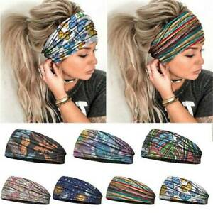 Women-Wide-Elastic-Turban-Headwraps-Stretch-Headband-Sports-Yoga-Gym-Hairband-AU
