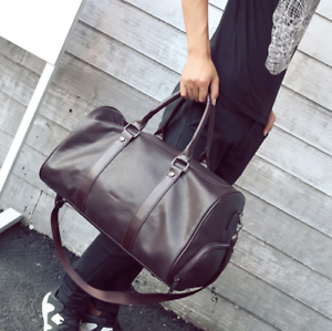 New Mens Leather Gym Duffel Shoulder Bag Travel Overnight Luggage Large Handbag