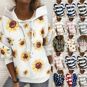 Women-Floral-Striped-Print-Hooded-Sweatshirt-Long-Sleeve-Casual-Pullover-Blouse