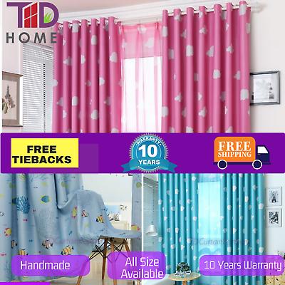 Blockout Kids Curtain Door Bedroom Fabric Blue Pink Drapes Sheer Net Eyelet Rods