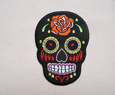 FLOWERED SUGAR SKULL  5 COLOURS Embroidered Iron On Patch Goth punk Rockabilly