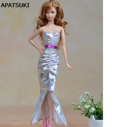 High Quality Elegant Silver Long Dress For 11.5 Doll Clothes For 1/6 Doll Toy