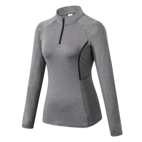 Womens 1//4 Zipper Compression Shirt Thumbhole Long Sleeved Gym Tops Sportswear