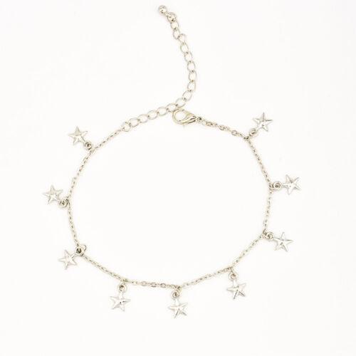 Women Jewelry Anklets Stars Pendant Summer Beach Tassel Ankle Bracelet Silver N7