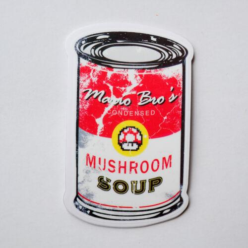 "Mario Bro/'s Campbell/'s mushroom soup 6x9cm 3/"" Decal sticker phone luggage #2219"