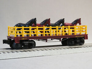 LIONEL-GENERAL-HORSES-FLATCAR-O-GAUGE-train-wild-west-horse-flat-car-6-82442-F