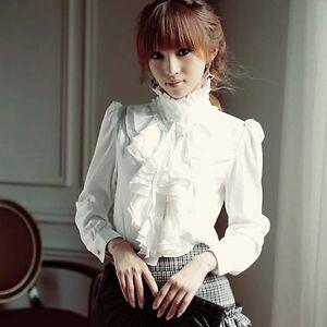 Elegant-Women-OL-Solid-Ruffle-Career-Frill-Collar-Long-Sleeve-Shirt-Tops-Blouse