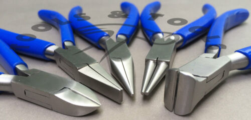 """NEW 5 PCS PLIERS KIT// SET 4.5/"""" JEWELRY MAKING CRAFTS WIRES BLUE HANDLES POUCH"""