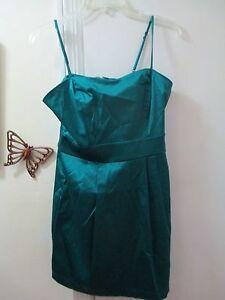 FOREVER-21-Spaghetti-Strap-Satin-Mini-Dress-Size-M-M-Teal-Color