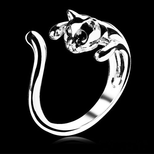 Fashion Jewelry Womens Cool Silver Plated Kitten Cat Ring With Crystal Eyes Gift