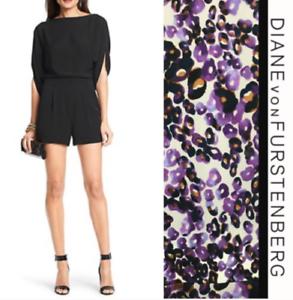 DVF Diane Von Furstenberg Soleil Floral Purple 100% Silk Romper SZ 6 NWT  398