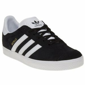 best service 3e4ce c3ac8 Image is loading New-Boys-adidas-Black-Gazelle-Suede-Trainers-Retro-