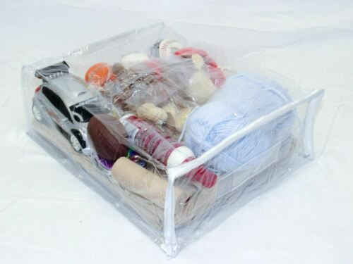 Clear Vinyl Zippered Sweater Clothing Storage Bag 11 x 15 x 4 Set of 10