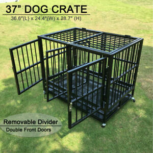 Walcut USPT4101  37in Rolling Double Door Cage for Dogs  - Black