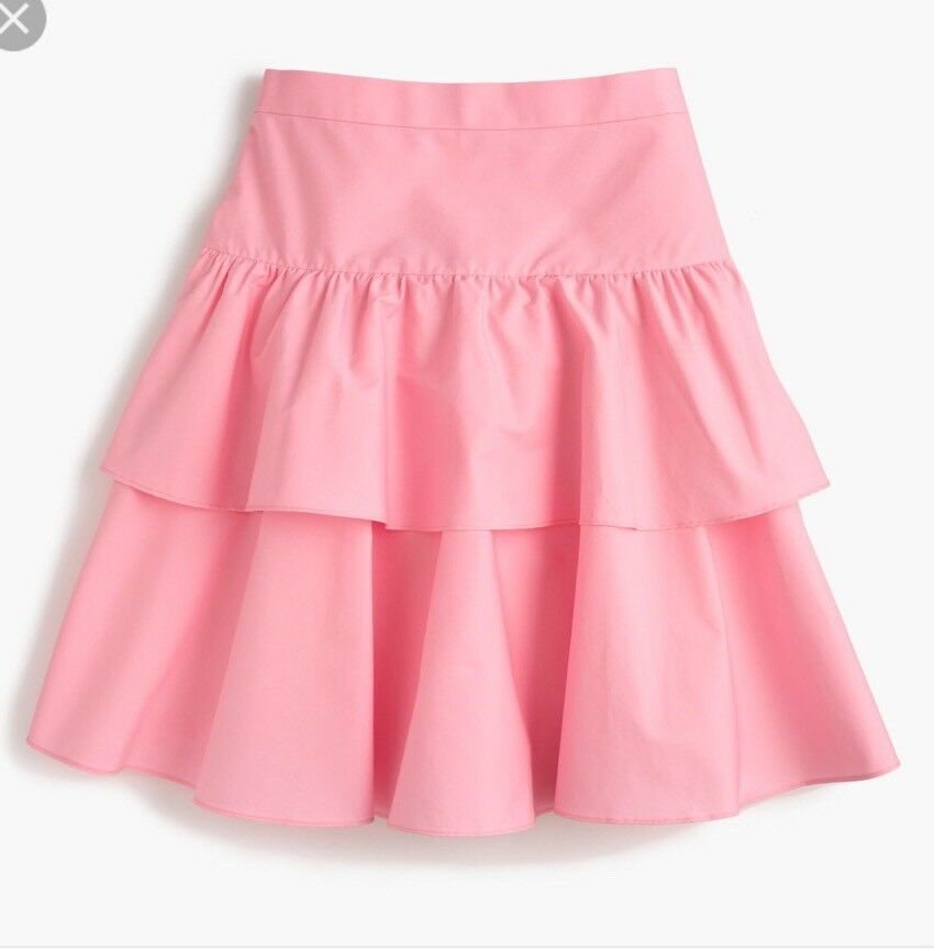NWT J Crew Tiered Ruffle Skirt Neon Patel Pink Sz 0 G4589 Sold Out