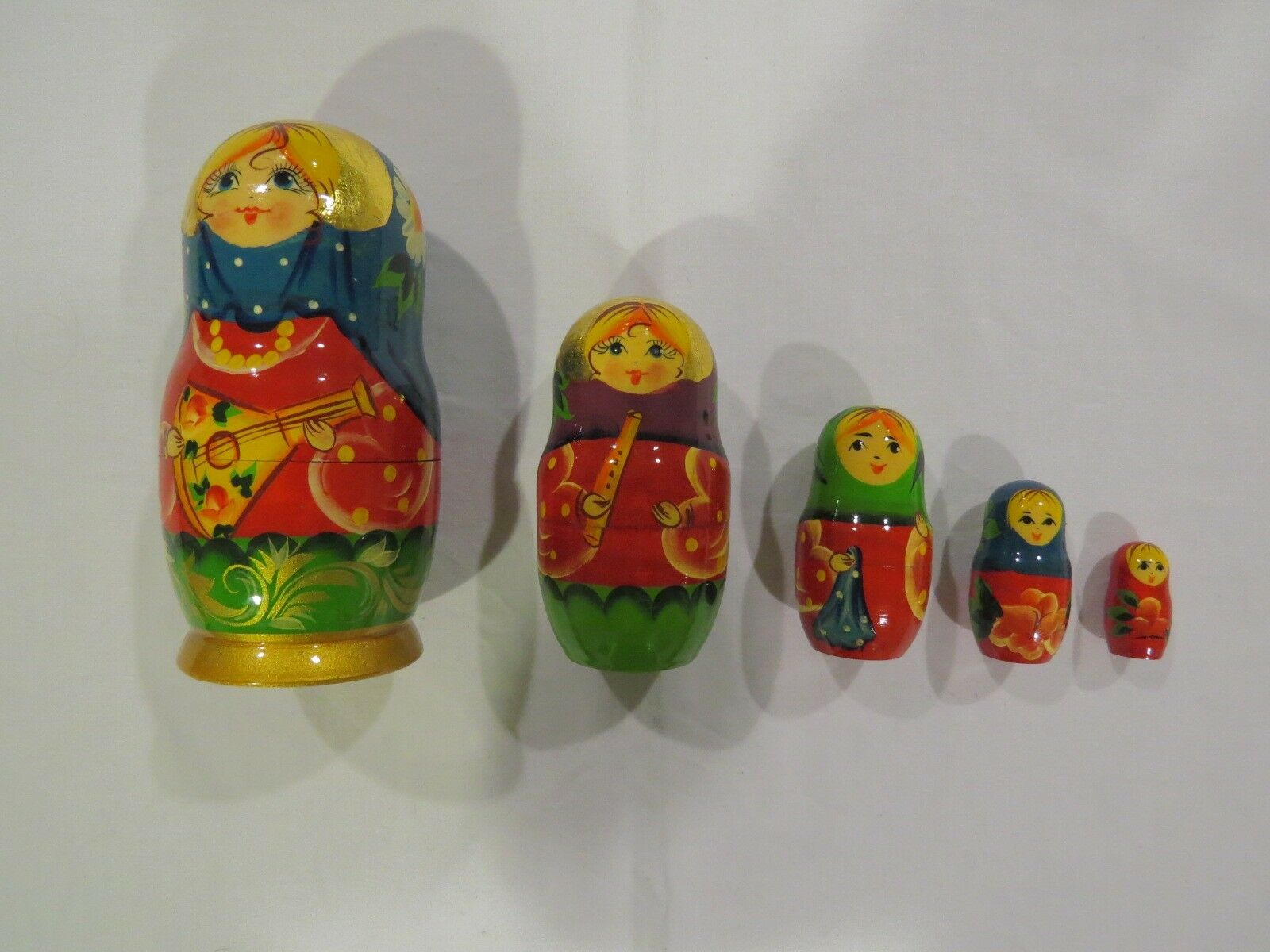 Art Russian Nesting Dolls 5 Pc. Set - Hand Painted & Signed by Russian Artist