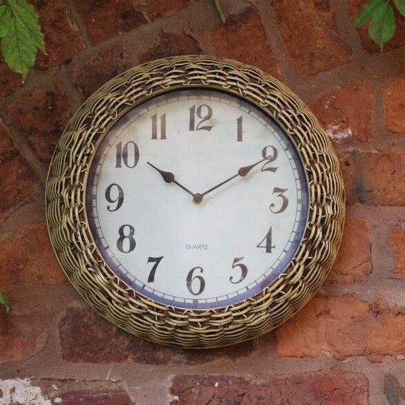 Outdoor indoor Garden Wall Clock Wicker Surround, 15 inch Aged Clock Face