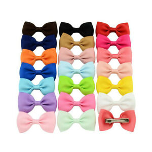 10-Pairs-2-034-Inch-Baby-Girls-kids-Ribbon-Hair-clip-Bows-clips-cute-bow-School