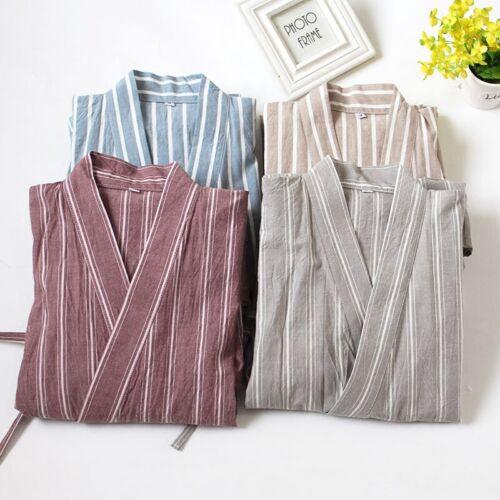 Details about  /Men Japanese Kimono Pajama Set Loose Pants Striped Cotton Sleepwear Nightwear