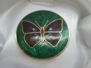 Vintage-Cloisonne-Enamel-Butterfly-Insect-Gold-Tone-Metal-Round-Brooch-Pin