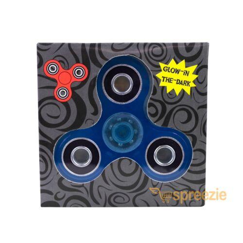 Glow in the Dark Hand Spinner Fidget Toy Anxiety Stress Relief Focus ADHD BLUE