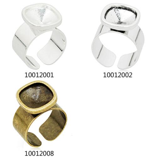 10Pcs 12*12MM Rounded Square Sharp Bezel Adjustable Ring Blank Pad Bases